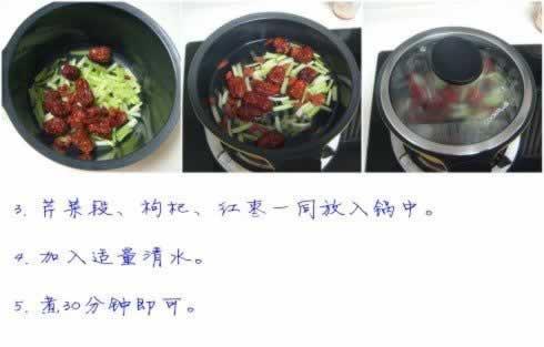 杞枣芹菜汤的做法(降血压保健饮品菜谱)