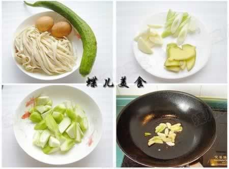 丝瓜鸡蛋炝锅面的做法