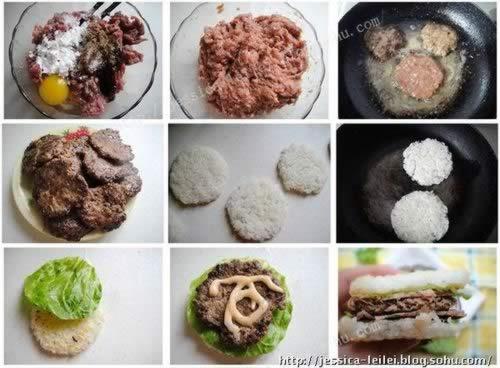 牛肉米汉堡的做法