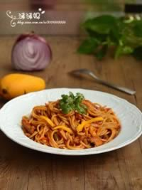 芒果茄汁意大利面的做法,怎么做,如何做好吃,图解详细步骤
