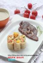 黄瓜卷饼配牛排的做法