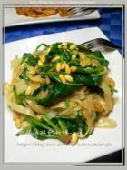 松子菠菜炒河粉的做法