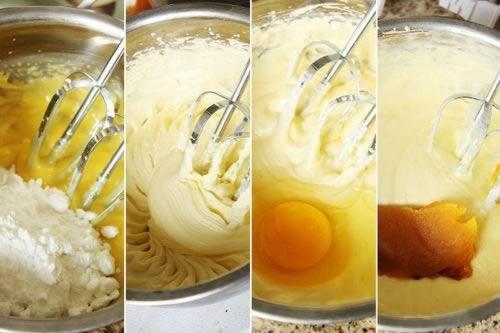 蛋糕 南瓜/3,加入过筛的低粉和泡打粉用刮刀拌匀,加入南瓜丁,再次拌匀。...