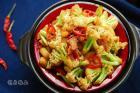 五花肉干锅菜花的做法