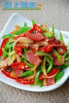 腊肉尖椒炒洋葱的做法