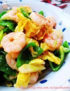 虾仁炒鸡蛋青椒的做法