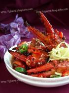 香辣蟹腿配米饭的做法