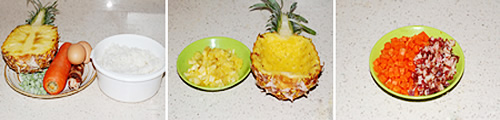 第2步果香味十足的菠萝炒饭的家常做法图片步骤