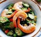 秋葵炒大虾的做法