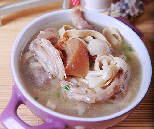 美容养颜图解豌豆菌菇汤的韭菜煲汤,做,鸭大做法炒做法的鸭掌图片