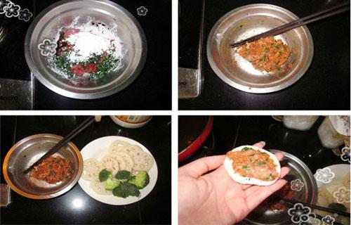 第2步多层次口感的香煎泰式甜辣藕饼的家常做法图片步骤
