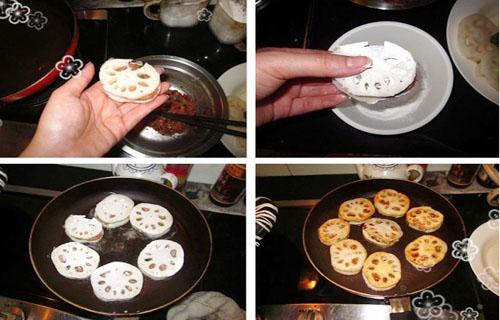 第3步多层次口感的香煎泰式甜辣藕饼的家常做法图片步骤