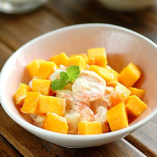 夏季消暑凉菜鲜虾芒果沙拉的做法图解,如何做,鲜虾芒果沙拉怎么做好吃