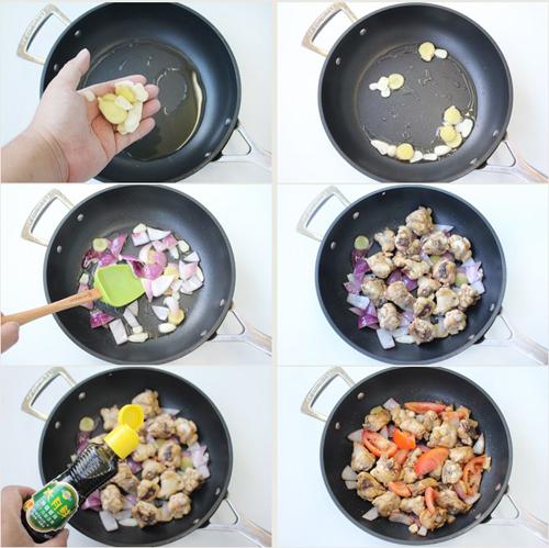第5步外酥里嫩的黑椒番茄炒鸡的家常做法图片步骤