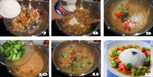 第3步椰香咖喱蔬菜烩饭的家常做法图片步骤