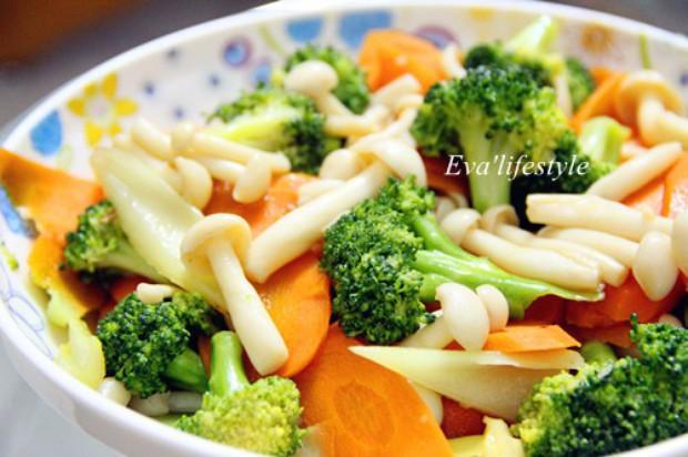 素炒蘑菇西兰花红萝卜的做法,怎么做,素炒蘑菇西兰花红萝卜如何做好吃详细步骤图解