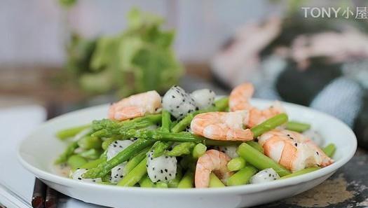 火龙果芦笋炒对虾的做法,如何做,火龙果芦笋炒对虾怎么做好吃详细步骤图解