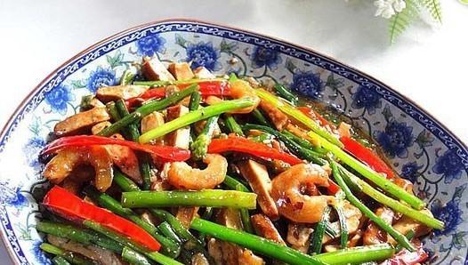 虾米韭菜苔炒香干的做法,如何做,虾米韭菜苔炒香干怎么做好吃详细步骤图解
