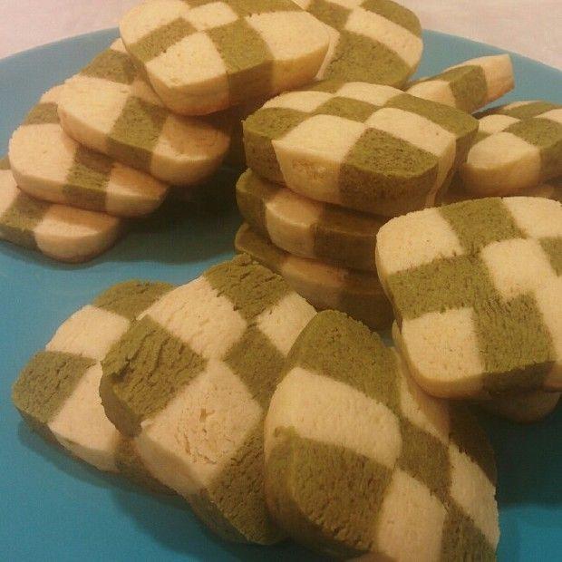 香草抹茶饼干 棋盘饼干的做法图解,如何做,香草抹茶饼干 棋盘饼干怎么做好吃详细步骤