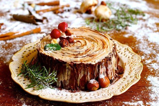 【欢乐圣诞伪树桩】巧克力榛子树桩蛋糕的做法图解,如何做,巧克力榛子树桩蛋糕怎么做好吃详细步骤