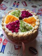 鲜奶双拼水果蛋糕的做法