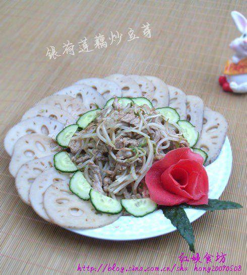 银荷莲藕炒豆芽的做法