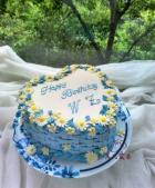 心形花篮雏菊蛋糕的做法