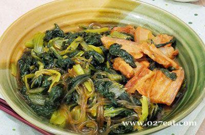 五花肉小白菜炖粉条的做法