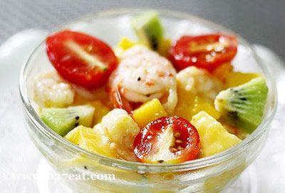 鲜虾芒果蜜乳沙拉的做法