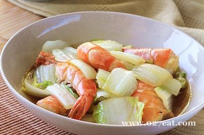 白菜烧大虾的做法图片,如何做,白菜烧大虾怎么做好吃详细步骤