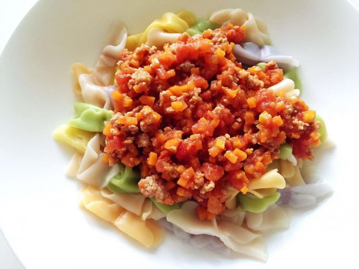 番茄蔬菜肉酱蝴蝶面的做法第16步图片步骤 www.027eat.com