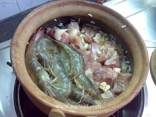 排骨大虾煲仔饭的做法第6步图片步骤 www.027eat.com