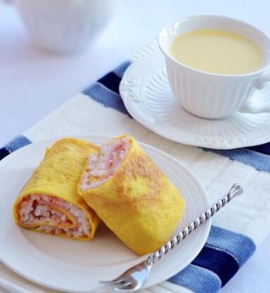 米饭鸡蛋卷+玉米碴的做法